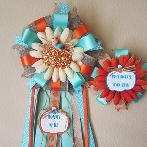 Accessories - pumpkin baby shower corsage/fall baby shower